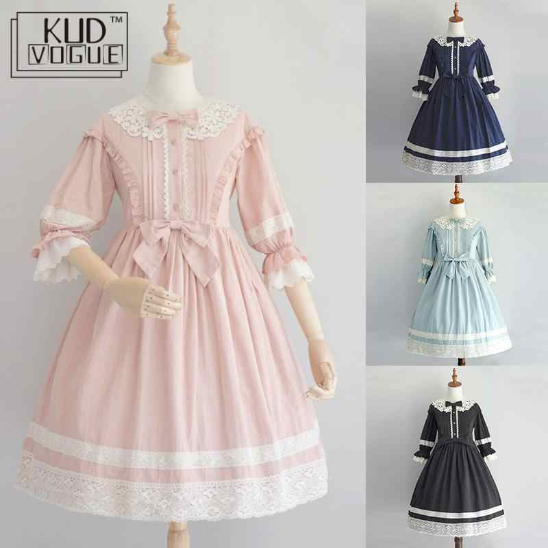 Gothic Lolita Dress Victorian Medieval Lace Black Pink Dress Women Princess Dress Girl Halloween Costume For Girls Plus Size 5XL