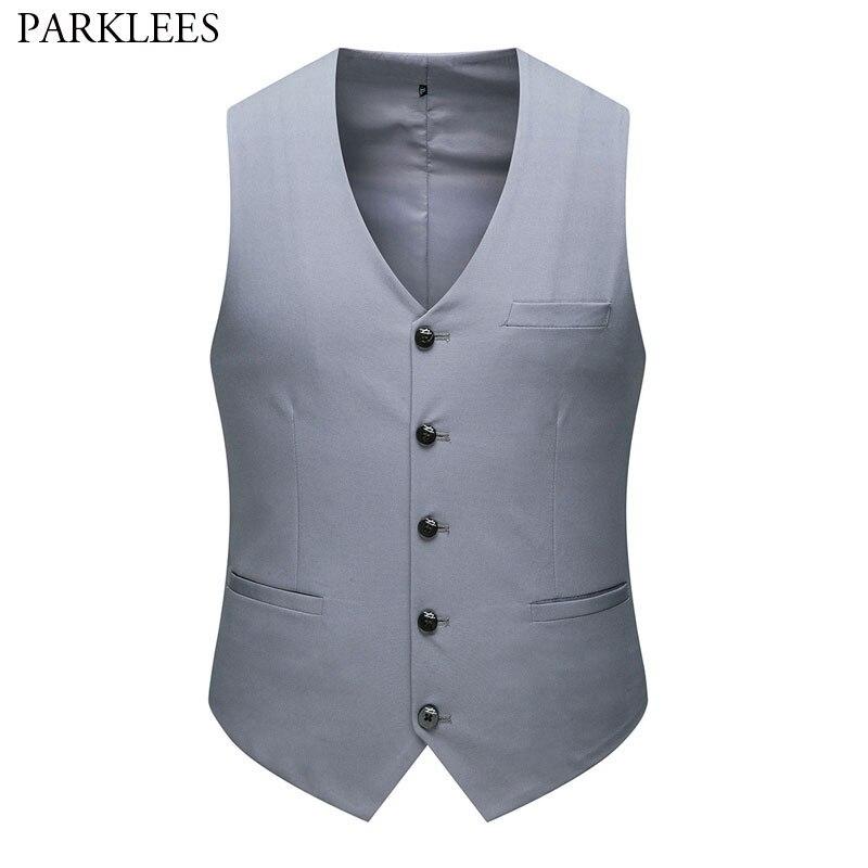 Gray Formal Business Suit Vest Men 2020 Brand New Slim Fit V Neck Sleeveless Waistcoat Mens Single Breasted Tuxedo Vest Male 6XL