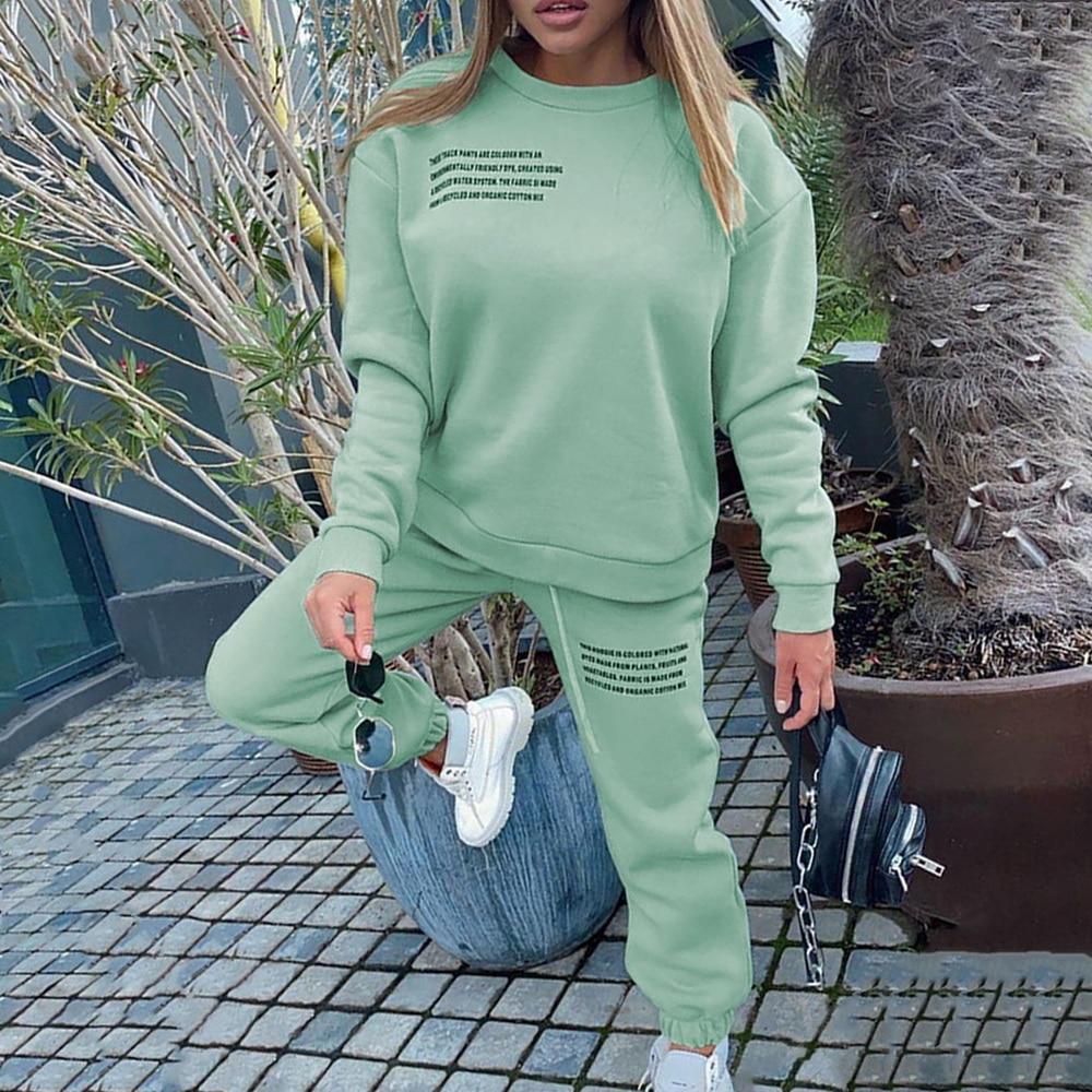 Letter Print Sports Suits Female Fitness Sportswear Suit Women's Tracksuit 2021 Oversize Hoodie Long Sleeve+Jogging Pants Suit 1