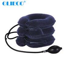 OLIECO – collier de Traction cervicales gonflable à Air, collier de Traction doux pour voyage, attelle d'étirement du cou, soutien des vertèbres cervicales, Posture correcte
