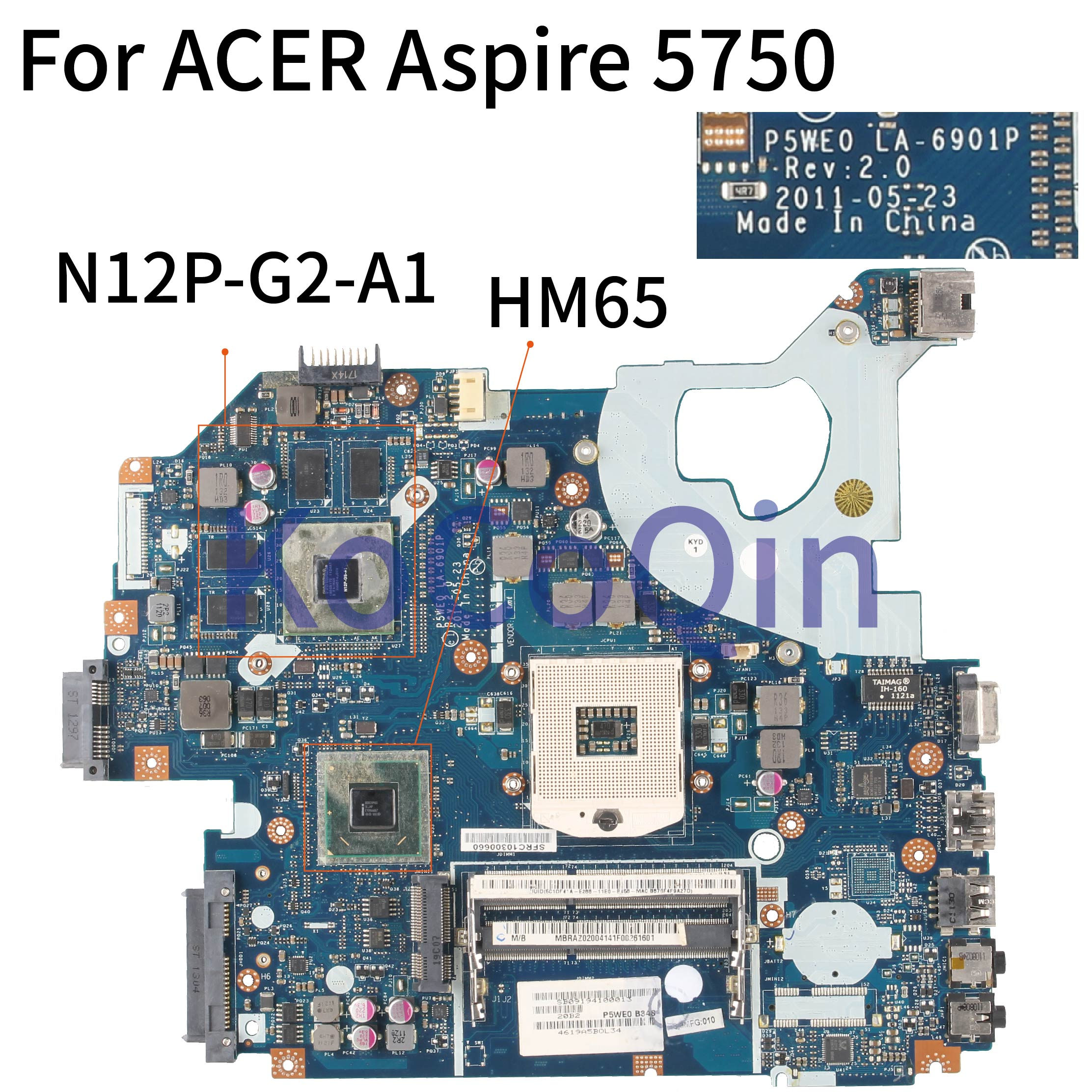 KoCoQin Laptop motherboard For ACER Aspire 5750 5750G GT540M Mainboard P5WE0 LA-6901P MBRAZ02004 HM65 N12P-G2-A1 image