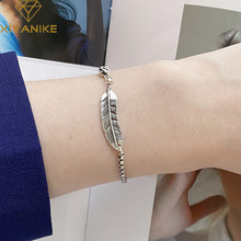 XIYANIKE 925 Sterling Silver Retro Thai Silver Female Fashion Handmade Feather Simple Bracelets Sexy Temperament Couple Gifts