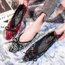 Women's classic sequined flat base women's web celebrity flat bow pointed flats plum-sized women's shoes