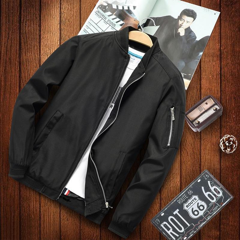 Plus Size 5XL 6XL Men Bomber Jacket Casual Spring Men Hip Hop Jackets Streetwear Pilot Bomber Jacket Solid Color Mens Clothing