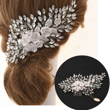 TOPQUEEN Wedding Floral Hair Comb Wedding Bridal Hair Accessories for Wedding Side Comb Bridal Hair Clips Hair Pins HP319 недорого