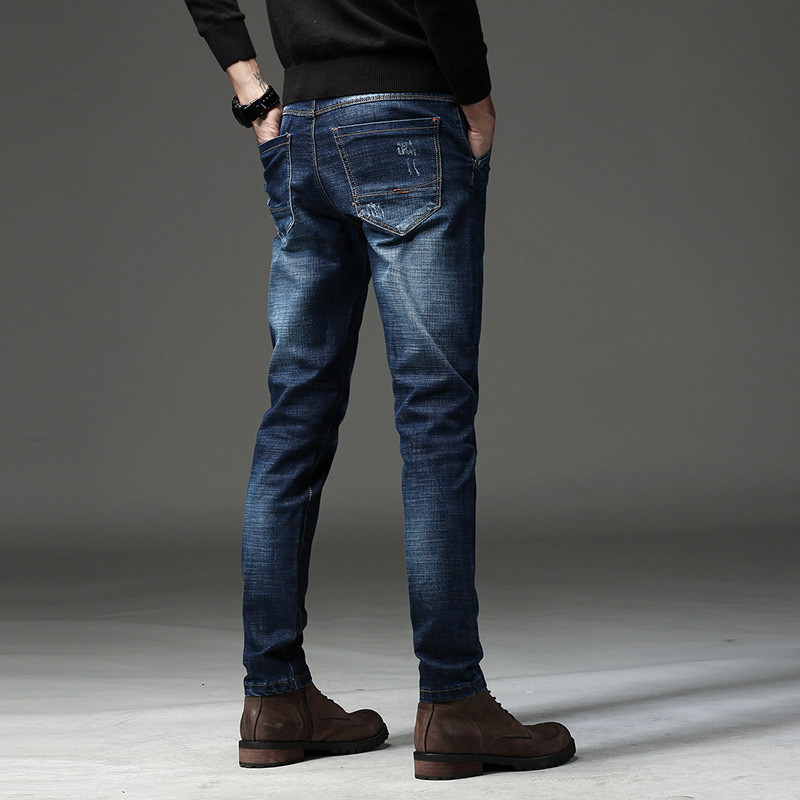 2019 Autumn And Winter New Style Men Casual Business-Style Straight Slim Elasticity Skinny Jeans MEN'S Trousers 719 #