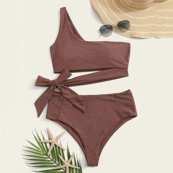 2020 Summer Sexy One Shoulder Bikini Two Pieces Swimsuit Solid Female Swimwear Women Bikini Bathing Suit Girl Beach Swimsuits 8