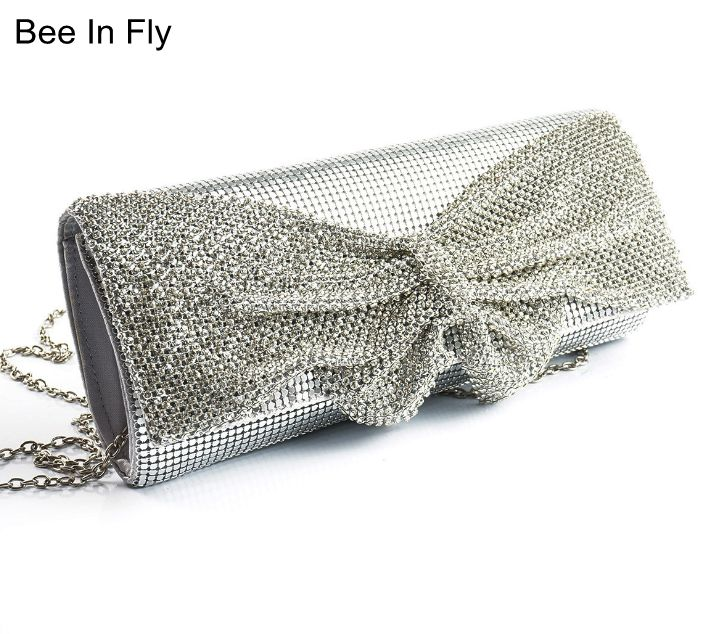 Luxury Women's Paillette Evening Bag High Quality Handmade Bow Evening Clutch Bags Sequin Crystal Fashion Designer Female Purse