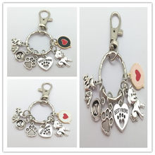 Nuovo amore del cuore I love my dog and bone keychain sveglio impronta del pendente dell'anello chiave migliore amico pet chiave anello regalo per gli amanti degli animali(China)