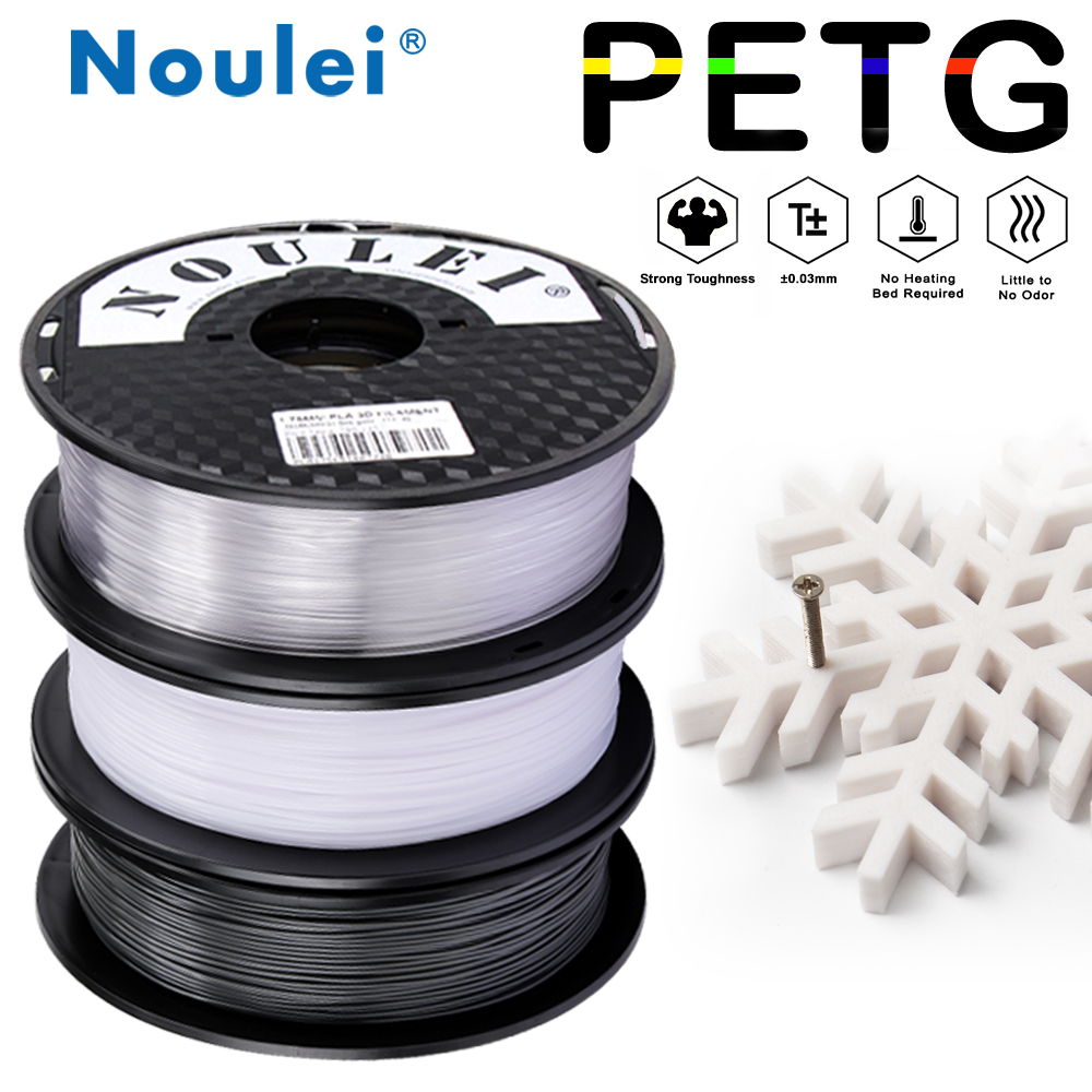 Noulei 3D Printer Filament PETG 1.75mm 1KG Spool High Light Transmittance Material For 3D Printer
