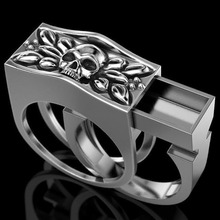 Creative New 925 Silver Skull Set Ring Vintage Punk Thai Silver Stained Black Skull Ring Party Gift Jewelry Ring