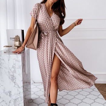 Bohemian Style Polka Dot Printed Short Sleeve V Neck Dress Young Girls Irregular Split Dress Summer Casual Clothes
