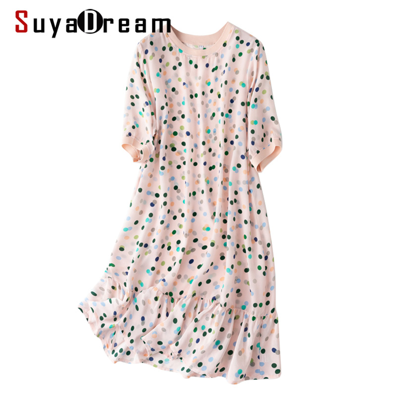 SD Women Mini Dress 100%Silk Crepe Dots Printed A line Short Sleeved O neck Dresses 2020 Spring Summer