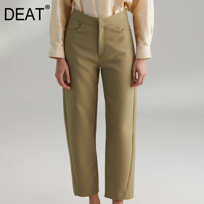 DEAT 2020 New Spring Fashion Women Solid Color Loose Straight Pants High Street Temperament Popular Trousers Female Tide PD212