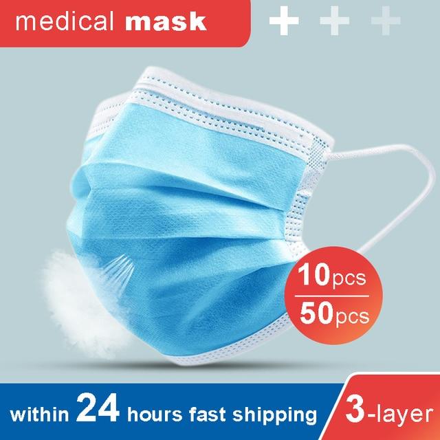 50Pcs Medical Mask Anti-Flu Surgical Mask Medical Masks Anti Dust Mask Disposable Elastic Earloop Masks Filter Health Nursing