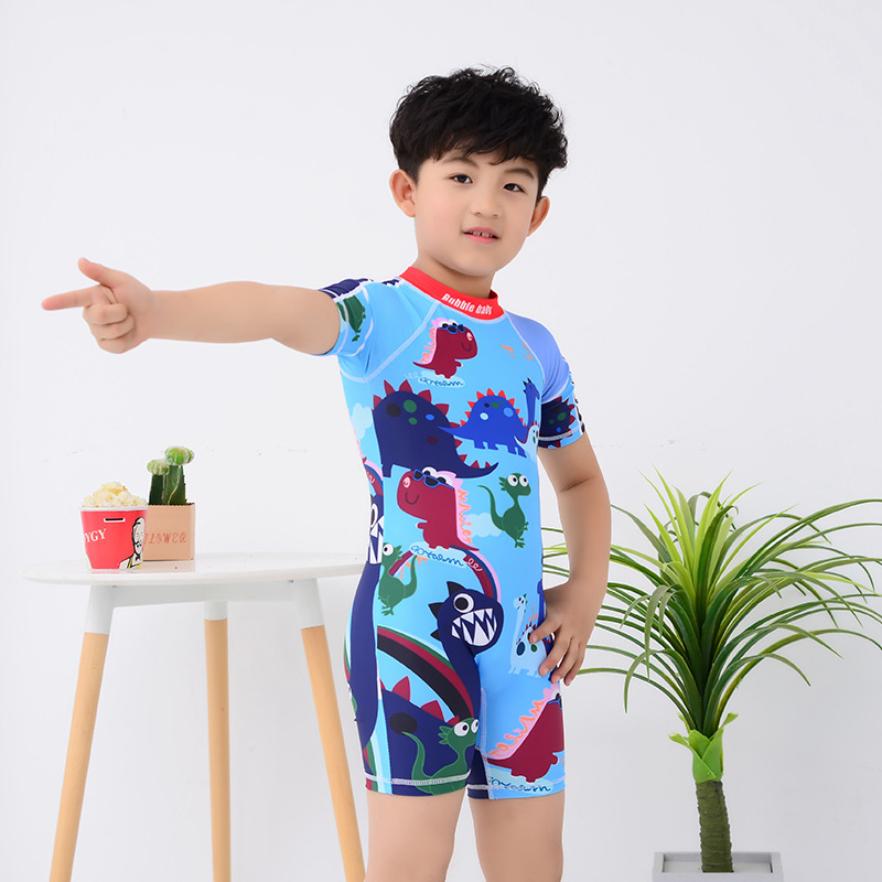 Children Swimsuit BOY'S One-piece Big Boy Small CHILDREN'S Boy Cartoon Cute Quick-Dry Swimming Wading Set Fashion