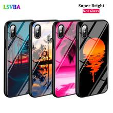 Black Cover Palm trees Summer beach for iPhone X XR XS Max for iPhone 8 7 6 6S Plus 5S 5 SE Super Bright Glossy Phone Case black cover japanese art for iphone x xr xs max for iphone 8 7 6 6s plus 5s 5 se super bright glossy phone case