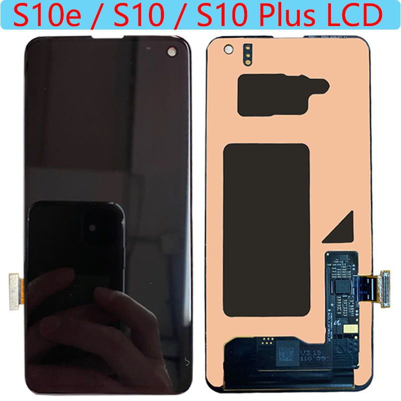 SUPER AMOLED S10e LCD For Samsung Galaxy S10 Plus LCD Display Touch Screen For Galaxy S10 G973F G975/DS G975F LCD With Black Dot