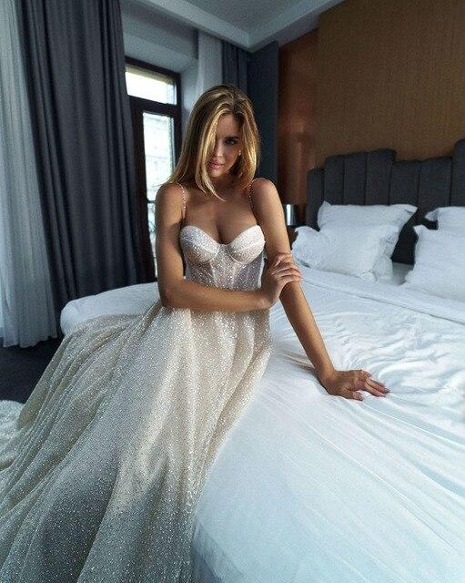 LORIE Shiny Sweetheart Princess Wedding Dresses Glitter Tulle Sexy Spaghetti Straps Boho Bride dresses Vestidos de novia 2021 4