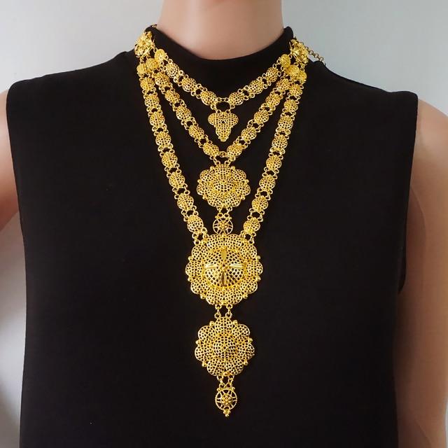 Dubai conjuntos de jóias colar de ouro & brinco conjunto para as mulheres africano frança festa de casamento 24k jóias etiópia presentes de noiva 4