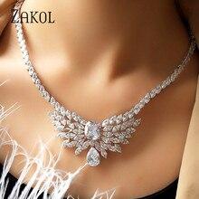 ZAKOL Gorgeous Big Square Cubic Zircon Jewelry Set  Earrings Necklace Elegant Women Engagement Jewelry FSSP294