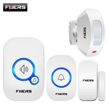 Беспроводной дверной звонок Fuers, Домашняя безопасность, Pir датчик движения, дверной датчик, звуковая сигнализация, 32 Песни, умный дверной зво...