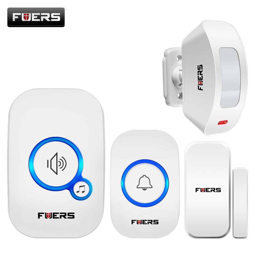 Fuers Wireless Doorbell Home Security Pir Motion Welcome Chime Door Sensor Sound Alarm 32 Song Smart Doorbell Ring Touch Button