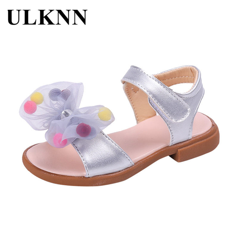 ULKNN Newest Summer Kids Shoes Fashion Leathers Sweet Children Sandals For Girls Toddler Baby Breathable Hoolow Out Bow Shoes