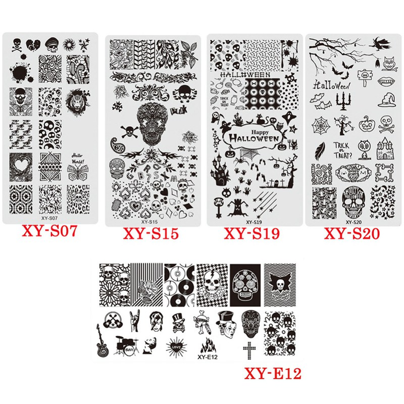 Nail Sticker Nail Art Halloween Taro Ghost Pattern Print Template Devil Nail Printing Mould Nail Stickers U Stickers Decals Aliexpress