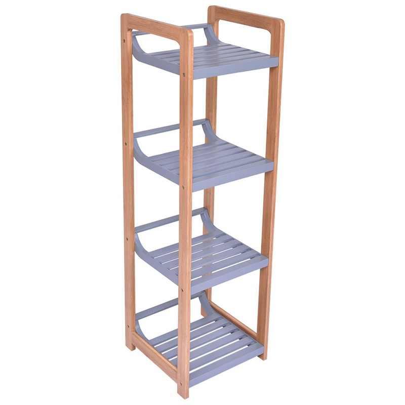4 層竹多機能収納タワースタンドラックダイニングルーム省スペース高品質収納棚 HW55480