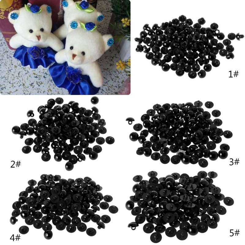 100x Black Shank Button DIY Sewing Eye Shirt Doll DIY Craft 9/10/11.5/12.5/15mm