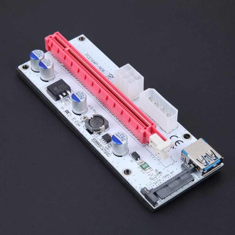 VER008S Pci-e ライザーカード PCI-E 1x に 16x と 4pin 6pin Sata 3 電源ポート + Usb 延長ケーブル bitcoin Miner のため