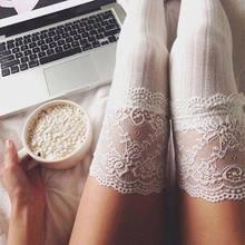 Mulheres branco laço retalhos meias altas sobre o joelho longo liso grosso coxa estiramento adulto meias de algodão quente