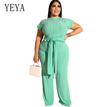 YEYA Big Size 4XL 5XL Vintage Wide Leg Jumpsuit Two Pieces Sets Rompers Short Sleeve Women Playsuits Plus Size Casual Overalls fuda two pieces sets large size 3xl playsuits women bodycon rompers bodysuits short sleeve printed casual summer overalls