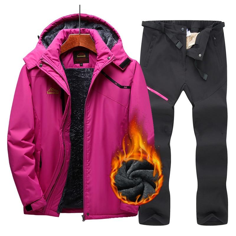 New Women's Ski Suit Warm Windproof Waterproof Fleece Jacket+Pants Outdoor Women's Winter Suit Snow Skiing Snowboard Jacket Sets