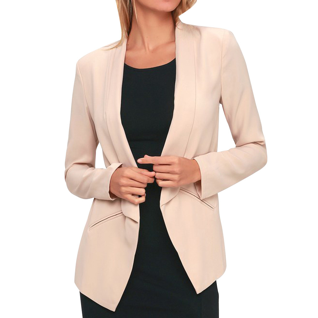 Women Blazers For Office Work Casual Ladies Long Sleeve Pockets Formal Blazer Cardigan Elegant  Streetwear Blazer Feminino Z0724