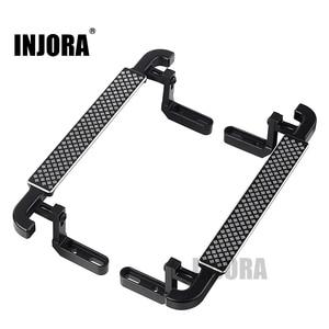 Image 1 - INJORA 2 adet Metal siyah yan pedalı kaya kaydırıcılar 1/10 RC paletli araba Traxxas TRX4 TRX 4
