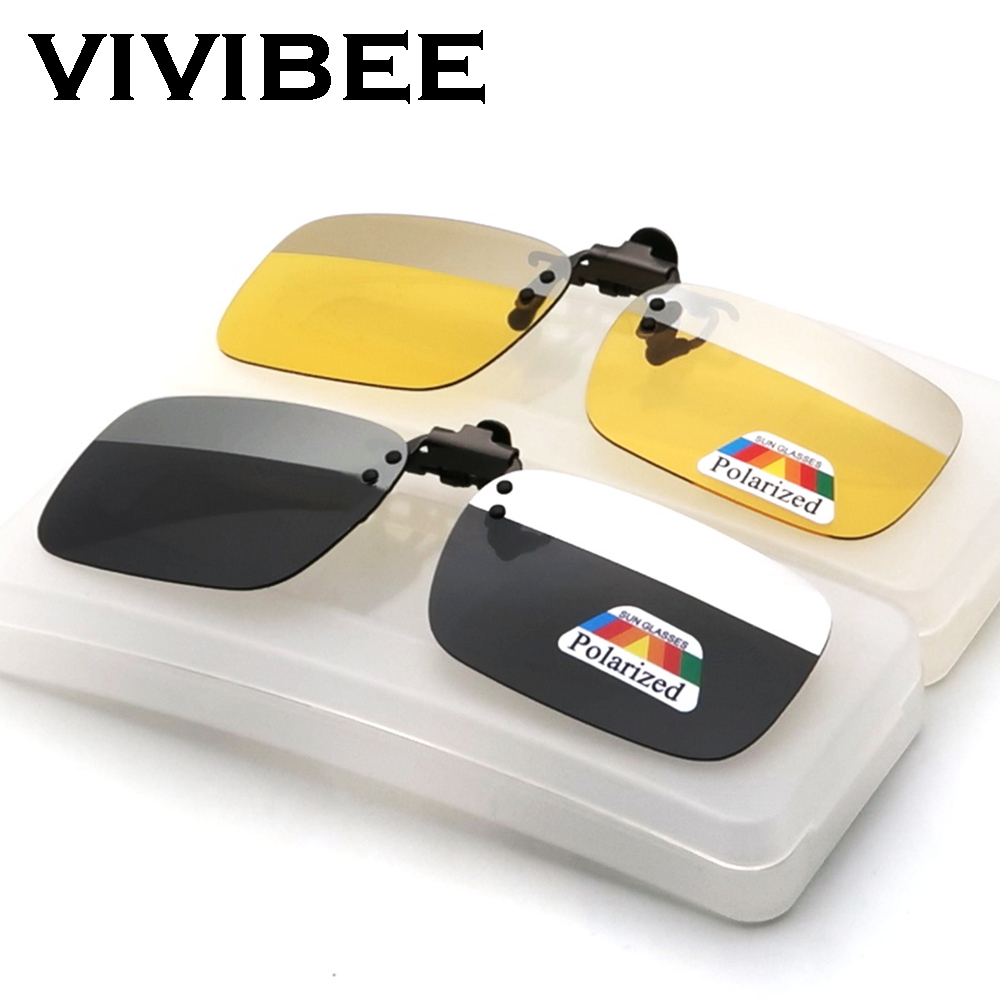 VIVIBEE 2020 New Arrival Square Polarized Clip On Sunglasses Men Driving Two Colors Grey Silver Clip-on Mirror Women Glasses