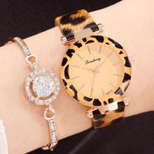 New Fashion Women Watches Montre Femme Leopard Print Leather Analog Quartz