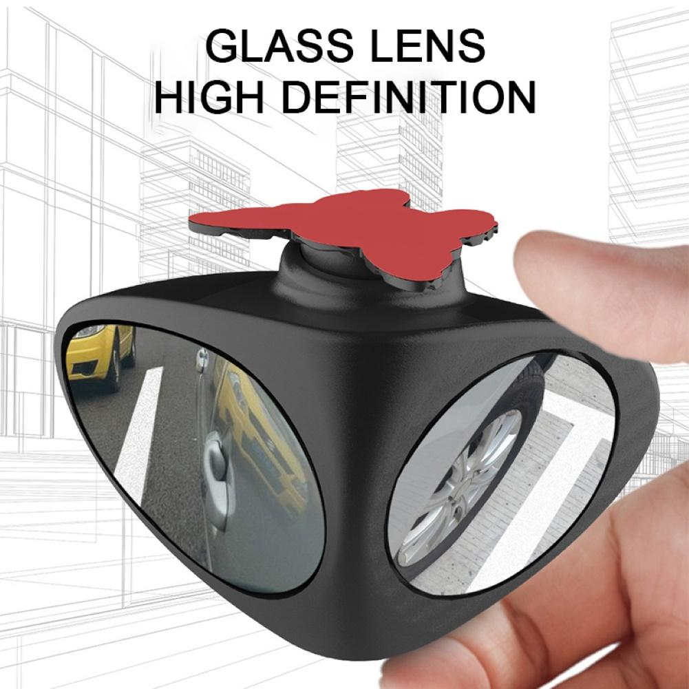 Car Blind Spot Mirror Adjustable 360 Degree Rotating Adhesive Wide Angle Blind Spot Auxiliary Rear View Mirror