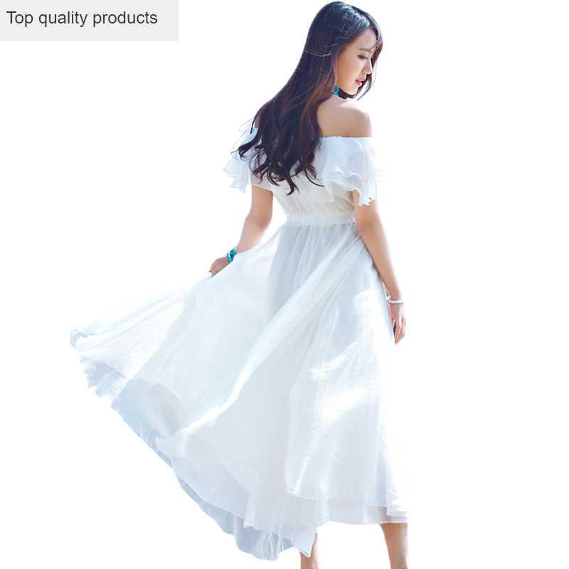 女性 2020 オフショルダー帝国ソリッドルース夏ロングドレススラッシュネック半袖セクシーなビーチドレス Vestidos YR028