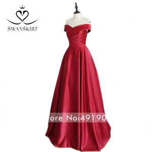 Image 5 - Red Off Shoulder Satin A Line Evening Dress Swanskirt Sweetheart Lace up Court Train Bride gown Princess robe de mariee A233