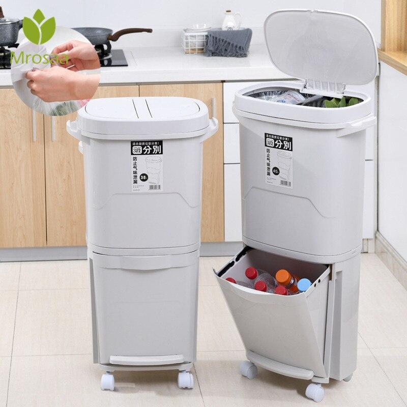 Couvercle en plastique 38L/45L | Grandes poubelles à Double couche de cuisine, bacs de tri des déchets, couvercle à Double pont classifié seau de rangement des poubelles