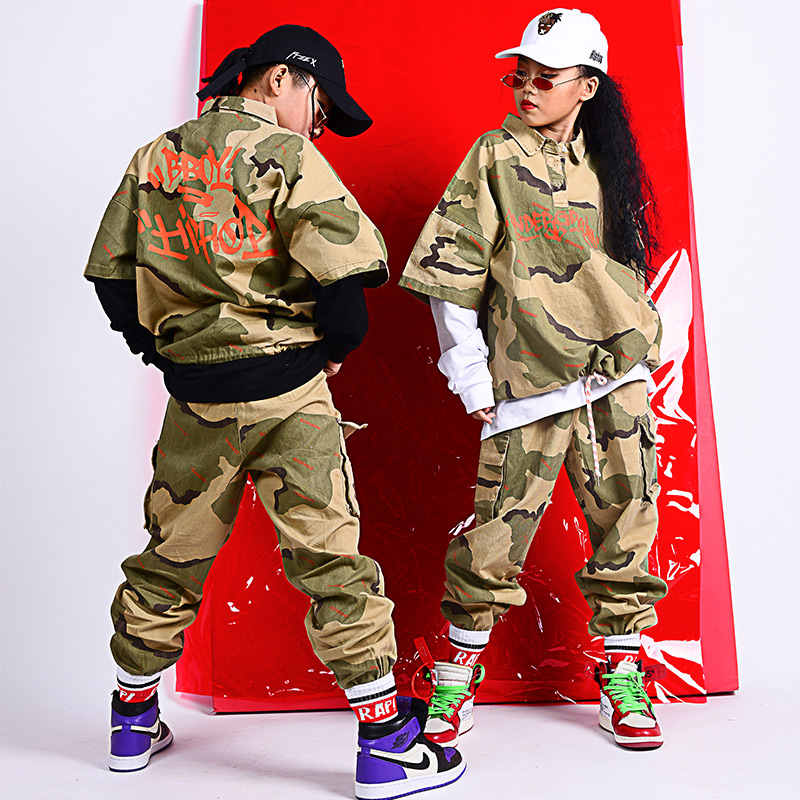 Children'S Street Dance Costumes Boys Jazz Hip Hop Clothing Boys Camouflage Suit Stage Performance Clothing For Girls DQS2964