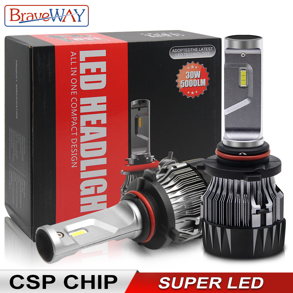 BraveWay Super LED Headlight H4 H7 H11 LED Lamps For Car 12V 9005 HB3 9006 HB4 9012 HIR2 H4 Led Bulbs For Auto Ice Bulb CSP Chip