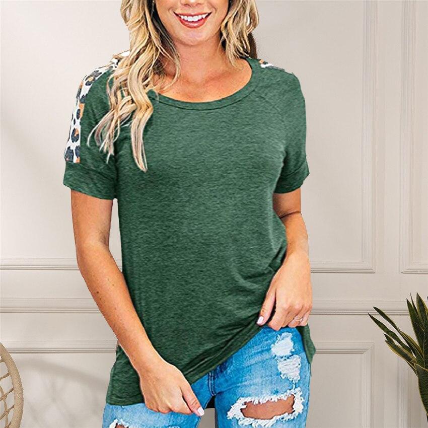 2020 New T Shirt Women Leopard Sleeve Top Summer Short Sleeve Casual Female Tops Tee Shirts Women Clothes Summer Tee 3XL T-shirt