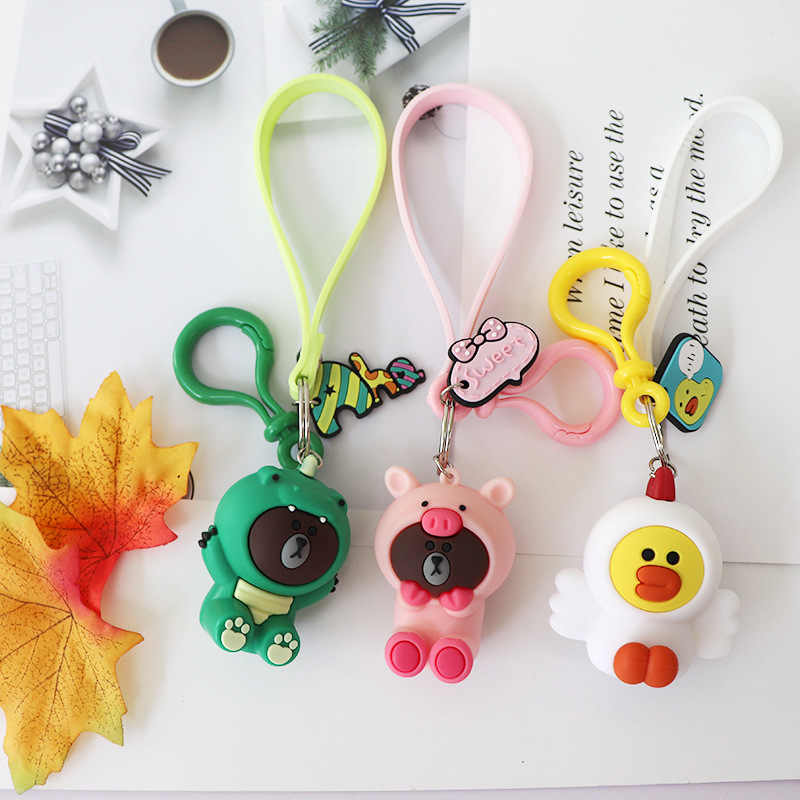 New Cartoon Brown Bear Keychain Cute Dinosaur Frog Pig Brown Bear Girl Keychain Doll Keyrings Kids Toy Key Chain Women Keyring