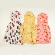 Yaz kapşonlu pamuk fermuar ceketler kızlar için erkek Bobo tarzı bebek giyim mont çocuk güneş koruma giyimi