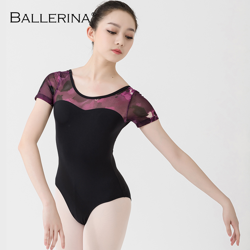 Ballet Leotard For Women Practice Black Dance Costume Gymnastics Purple Printing Short Sleeve Leotard Ballerina 3518