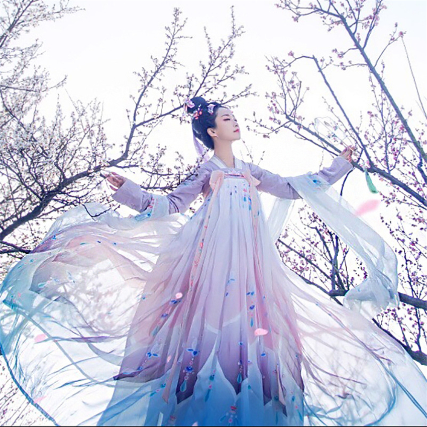 Dress Embroidery Traditional-Dance-Costumes Tang Hanfu Fairy-Performance Ancient Photography
